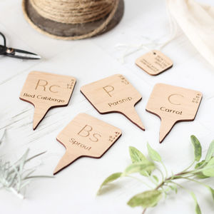 Chemical Element Wooden Christmas Vegetable Markers - gifts for gardeners