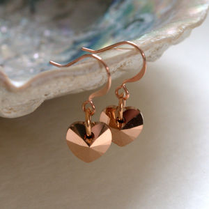 Swarovski Crystal Rose Gold Heart Earrings - jewellery sale