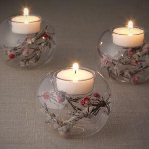 Frosty Berry Tea Light Holder - votives & tea light holders