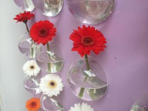 A Pair Of Glass Bubble Wall Vases - vases