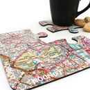 Four City Map Coasters