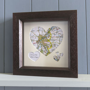 Personalised Multi Map Heart Art