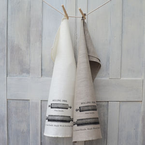Rolling Pin Linen Tea Towel