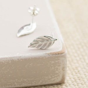 Laurel Leaf Silver Stud Earrings