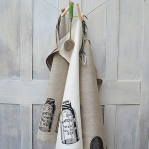 Vintage Bottles Linen Tea Towel