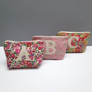 Liberty Print Initial Make Up Bag - personalised