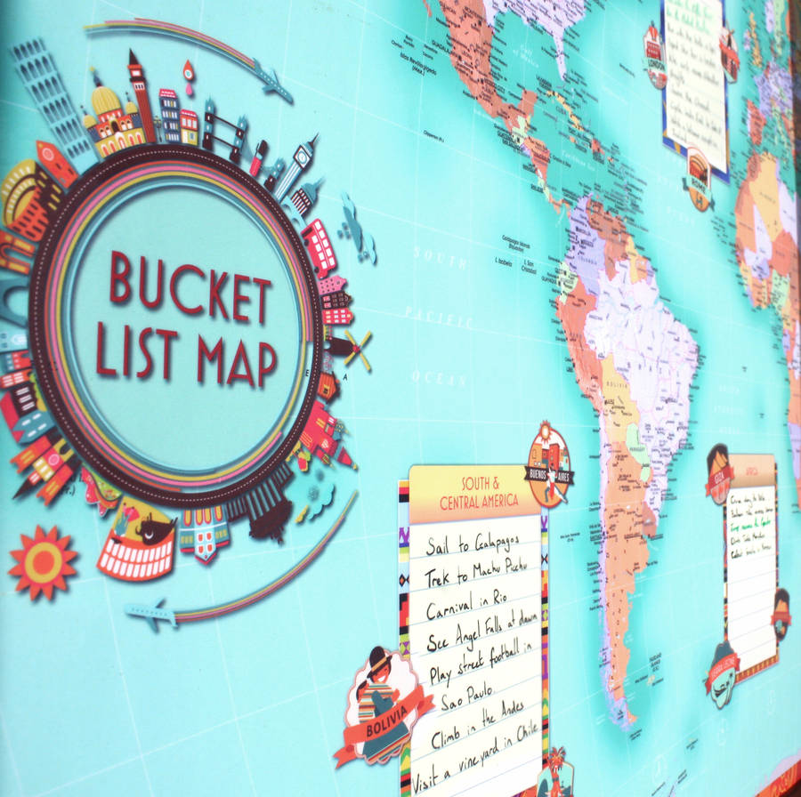 World bucket list map by thelittleboysroom notonthehighstreet world bucket list map gumiabroncs Images