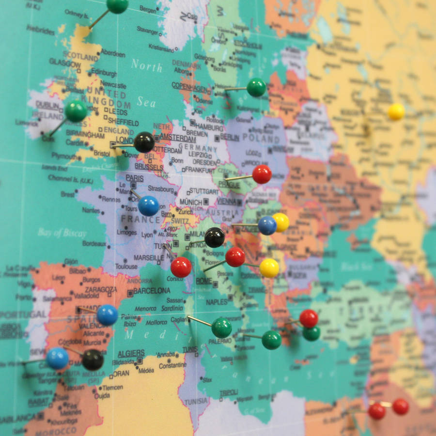 Shoptagr | World Traveller Push Pin Map by Thelittleboysroom