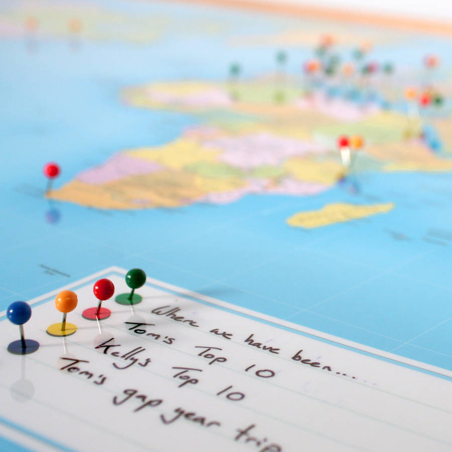 world traveller push pin map by thelittleboysroom