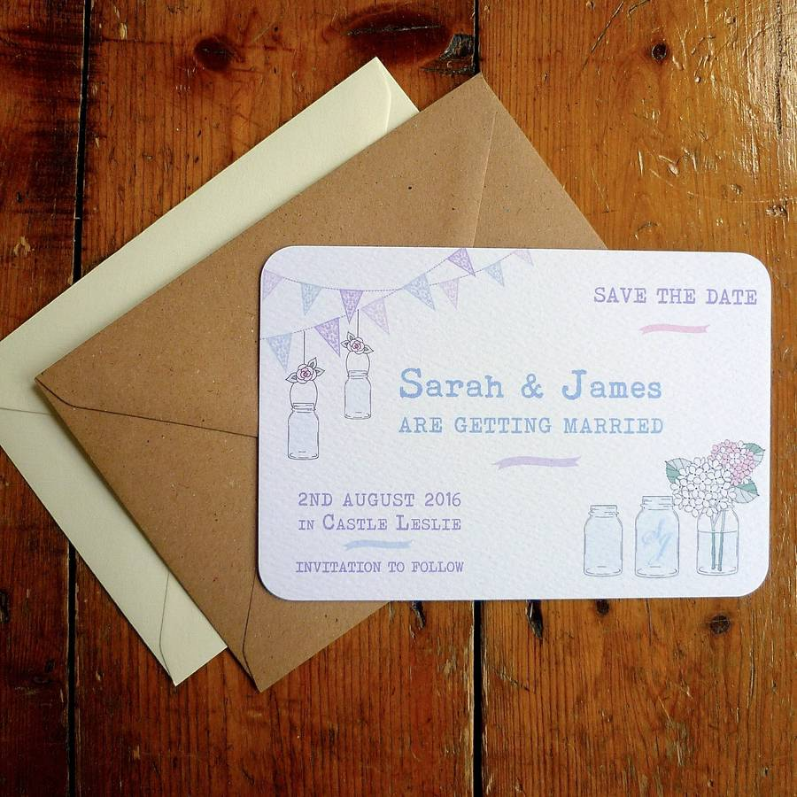 pack of 25 mason jar and bunting save the date by arbee