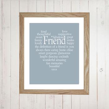 Personalised Friend Heart Print