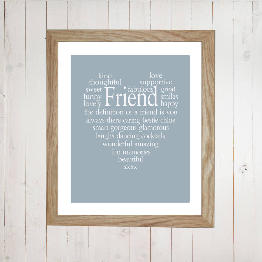 Personalised Friend Heart Print