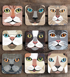 Purrtrait 'Close Up' Cat Coaster - for dog lovers and cat lovers