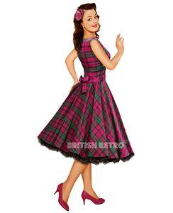 Purple Tartan Vintage Style Swing Dress