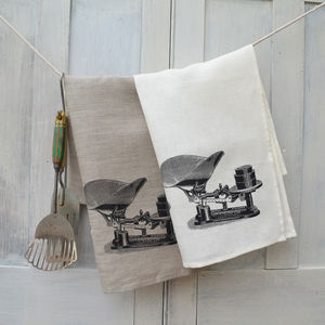 Vintage Scales Linen Tea Towel