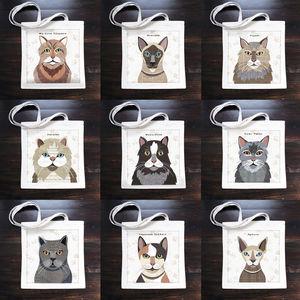Cat Print Canvas Bag