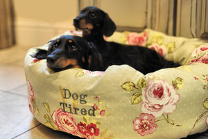 English Rose Floral Donut Dog Bed - dogs
