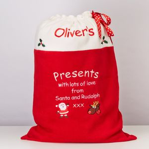Presents From Santa And Rudolph Sack - stockings & sacks