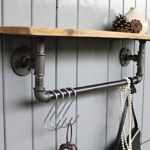 Industrial Steel Pipe Storage Shelf - bathroom