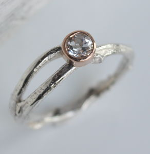 Handmade Silver And Rose Gold Woodland Twig Ring - rings