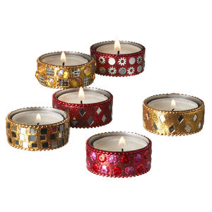 Red And Gold Glitter Tealight Holders Set Of Six - votives & tea light holders