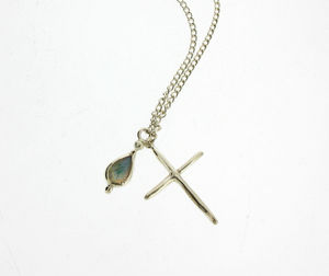 Silver Cross And Moonstone Necklace