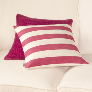 Striped Cranberry Pink Silk Cushion Cover - bedroom