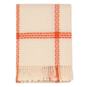 Plain Check Orange Throw - blankets & throws