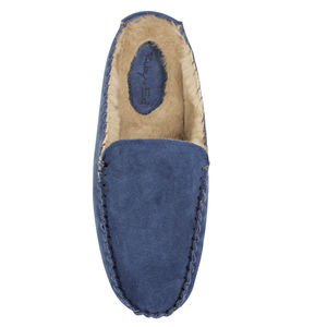 Mens Blue Suede Slipper