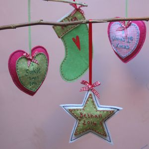 Personalised Embroidered Christmas Decoration - tree decorations