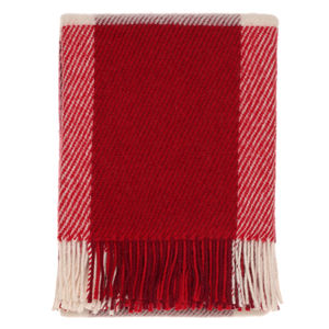 Red Check Wool Throw - throws, blankets & fabric