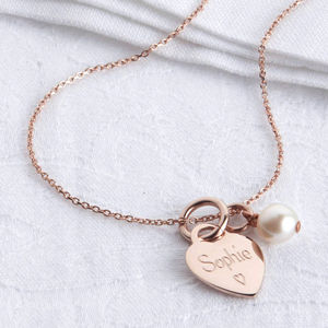 Personalised Petite Rose Gold Heart Charm Necklace