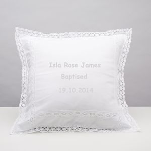 Personalised Linen And Lace Cushion