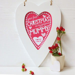 Personalised Mummy First Christmas Framed Heart
