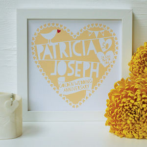 Personalised Anniversary Heart Framed Print - art