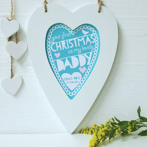 Personalised Daddy First Christmas Framed Heart - christmas posters & prints