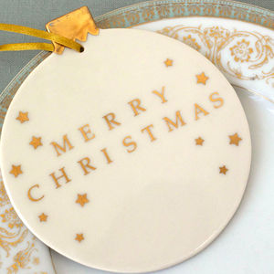 Giant Merry Christmas Bauble With Gold Stars