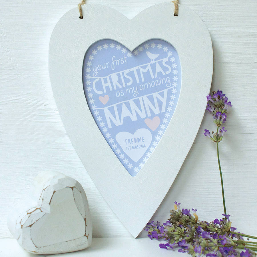 Personalised Nanny's First Christmas Framed Heart