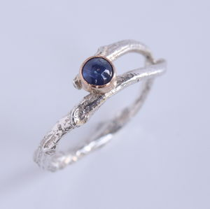 Handmade Silver, Rose Gold Woodland Sapphire Twig Ring - september birthstone
