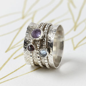 Gemstone Silver Spinning Ring - women's jewellery
