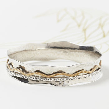 Bronze And Silver Spinning Bangle