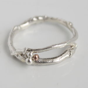Handmade Silver Woodland Twig Band Ring - women's jewellery