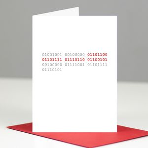 'I Love You' Binary Code Valentine's Day Card