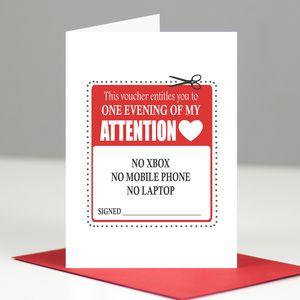 'An Evening Of My Attention' Romantic Voucher