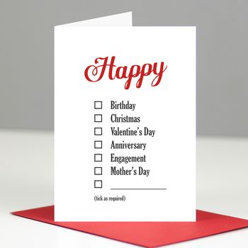 Happy Everything Checklist Card