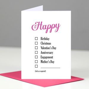 Happy Everything Checklist Mother's Day Card - view all mother's day gifts
