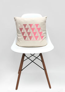 Geometric Red And Pink Design Cushion