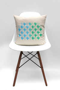 Geometric Blue And Green Design Cushion - bedroom