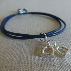 Silver And Leather Stirrup Charm Bracelet