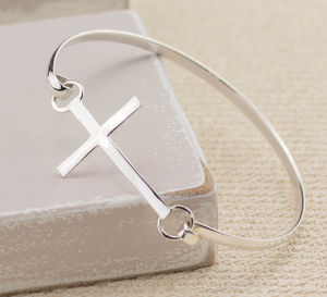 Silver Cross Bangle - christening gifts